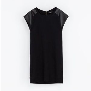 NWOT Zara Black Faux Leather Sleeves T Shirt Dress
